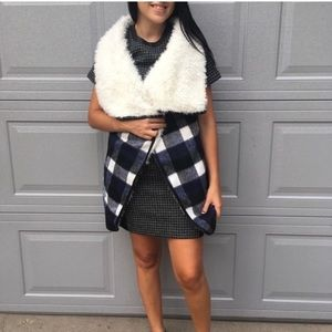 Me Jane Cream and Navy Checkered Faux Fur Vest
